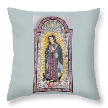 Purple Guadalupe Throw Pillow by Ellen Chavez de Leitner