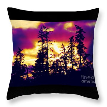 Throw Pillow featuring the photograph Purple Haze Forest by Nick Gustafson