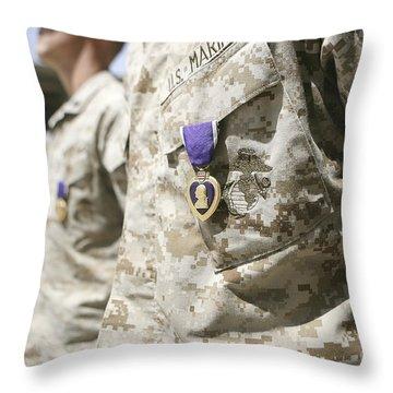 Purple Heart Recipients Throw Pillow by Stocktrek Images