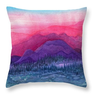 Purple Hills Throw Pillow by Adria Trail