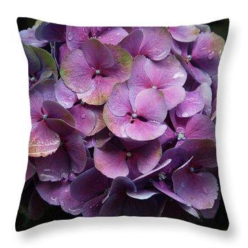 Purple Hydrangea- By Linda Woods Throw Pillow