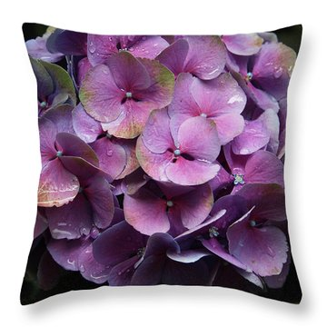 Purple Hydrangea- By Linda Woods Throw Pillow