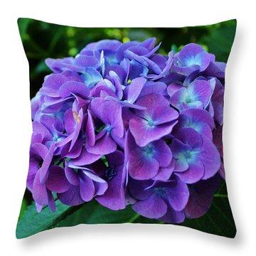 Purple Hydrangea Throw Pillow