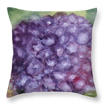 Throw Pillow featuring the painting Purple Hydrangea by Donna Walsh
