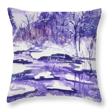 Throw Pillow featuring the painting Purple Ice On Kaaterskill Creek by Ellen Levinson