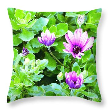 Purple In Greenery Throw Pillow