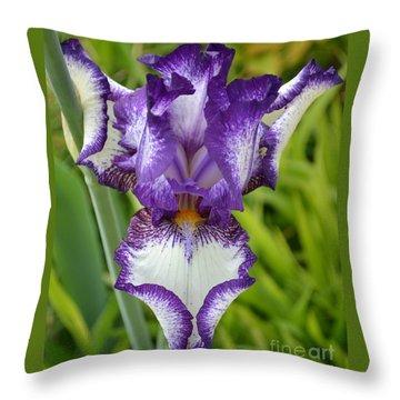 Purple Iris Art Throw Pillow