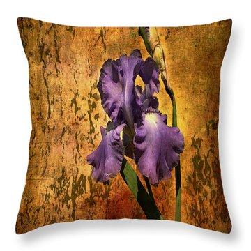Purple Iris At Sunset Throw Pillow