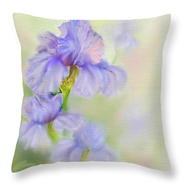 Throw Pillow featuring the painting Purple Iris by Bonnie Willis