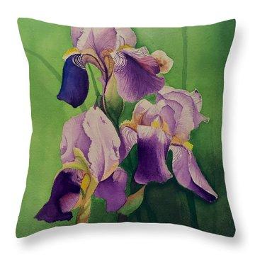 Purple Iris' Throw Pillow