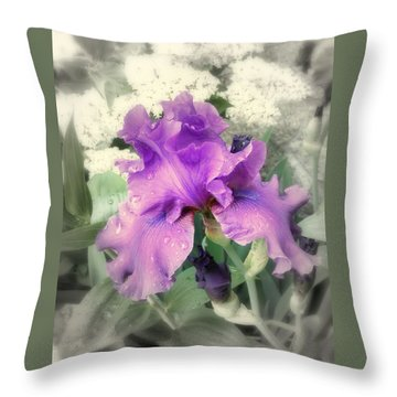 Purple Iris In Focal Black And White Throw Pillow by Margie Avellino