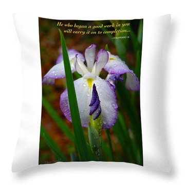 Purple Iris In Morning Dew Throw Pillow