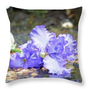 Throw Pillow featuring the photograph Purple Iris Reflection by Lila Fisher-Wenzel
