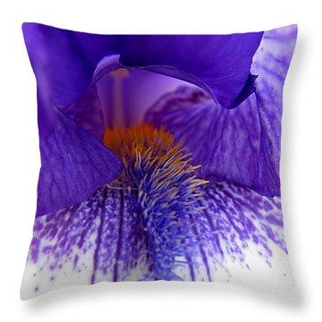 Purple Iris Stamen Throw Pillow