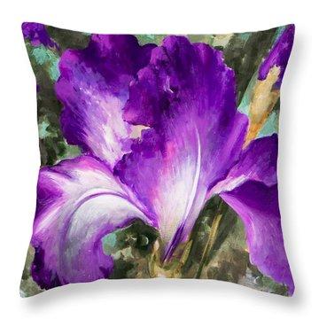 Purple Iris Throw Pillow by Vali Irina Ciobanu