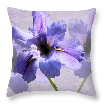 Purple Irises Throw Pillow