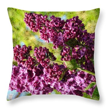 Purple Lilac 1 Throw Pillow by Jean Bernard Roussilhe