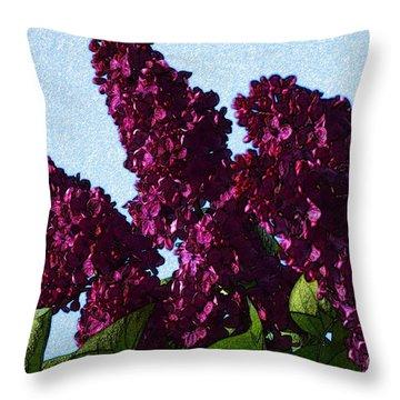 Purple Lilac 3 Throw Pillow by Jean Bernard Roussilhe