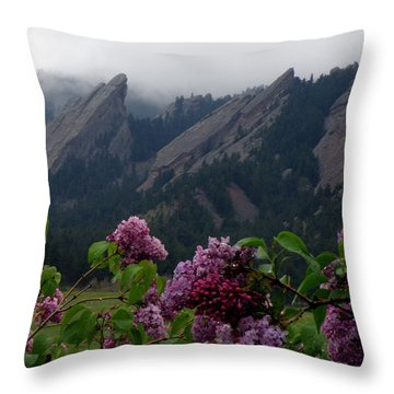 Purple Lilacs Flatirons Throw Pillow