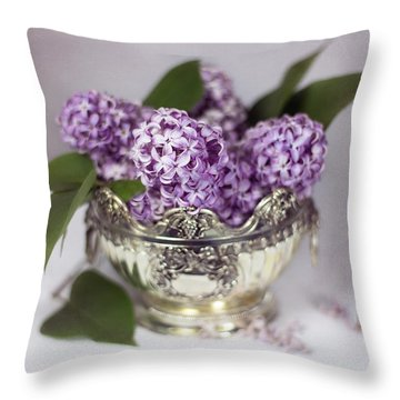 Purple Lilacs In Silver Bowl Throw Pillow