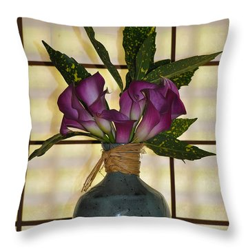 Purple Lilies In Japanese Vase Throw Pillow by Bill Cannon