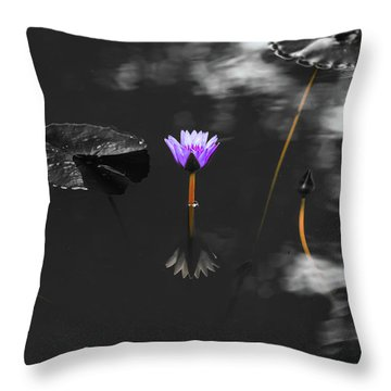 Throw Pillow featuring the photograph Purple Lily In Black And White by Dennis Dame