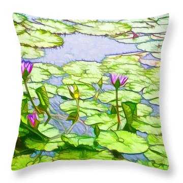 Throw Pillow featuring the painting Purple Lotus Flower  by Lanjee Chee