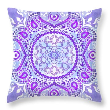 Throw Pillow featuring the digital art Purple Lotus Mandala by Tammy Wetzel