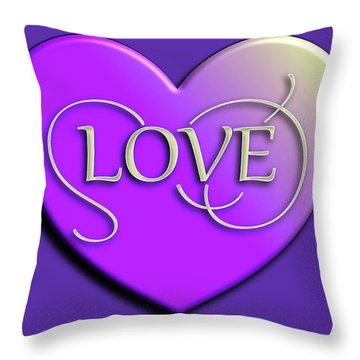 Purple Love Heart Throw Pillow