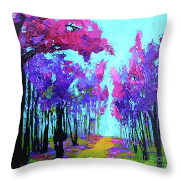 Throw Pillow featuring the painting Purple Magenta, Forest, Modern Impressionist, Palette Knife Painting by Patricia Awapara