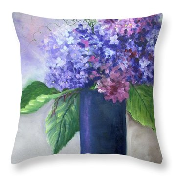 Purple Majesty Hydrandeas Throw Pillow