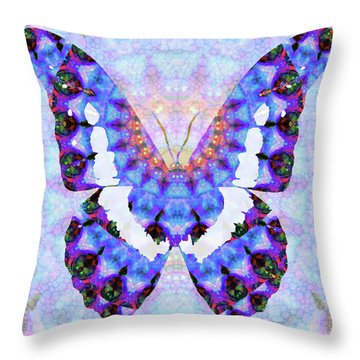 Throw Pillow featuring the painting Purple Mandala Butterfly Art By Sharon Cummings by Sharon Cummings