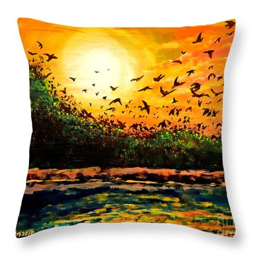 Purple Martin Migration Throw Pillow
