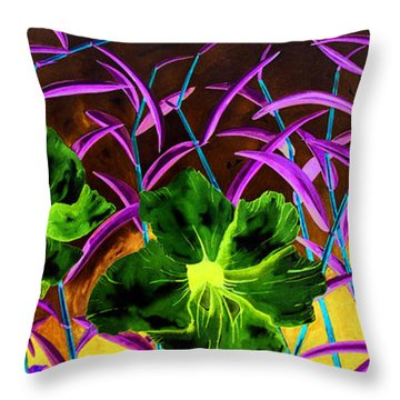 Purple Morning Flower Throw Pillow