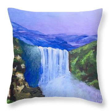 Throw Pillow featuring the painting Purple Mountains by Saundra Johnson