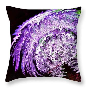 Purple Mushroom Throw Pillow by Linda Constant
