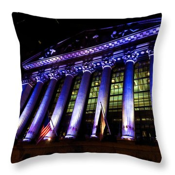 Purple New York Stock Exchange At Night - Impressions Of Manhattan Throw Pillow