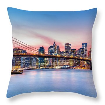Throw Pillow featuring the photograph Purple Nyc Sunset by Mihai Andritoiu