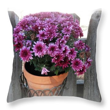 Purple On The Fence Throw Pillow
