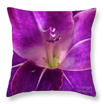 Throw Pillow featuring the photograph Purple Orchid Close Up by Kim Nelson