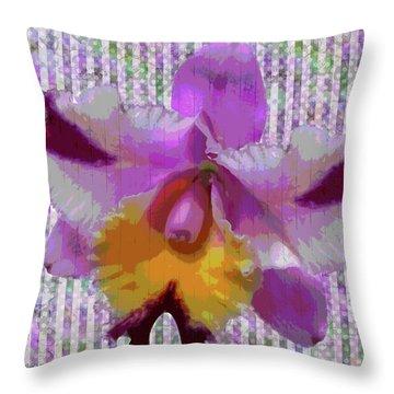 Purple Orchid Design Throw Pillow by Rosalie Scanlon