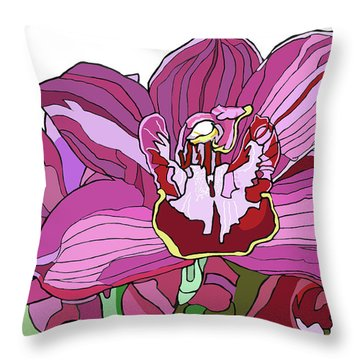 Purple Orchid Throw Pillow by Jamie Downs