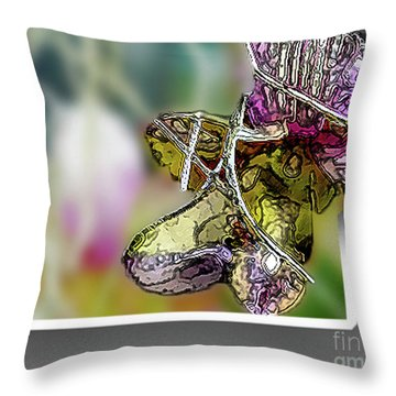 Purple Orchid Pop Throw Pillow by Deborah Nakano