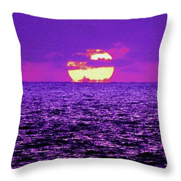 Throw Pillow featuring the digital art Purple Pacific With Sandstone Texture by Howard Bagley