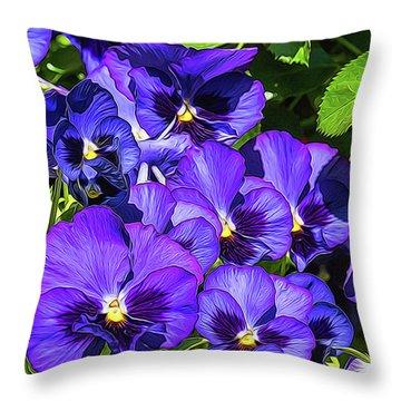 Purple Pansies In Morning Light Throw Pillow