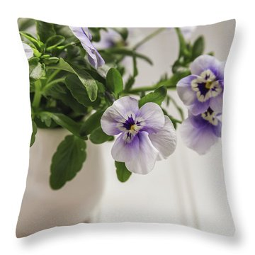 Throw Pillow featuring the photograph Purple Pansy Flowers by Kim Hojnacki