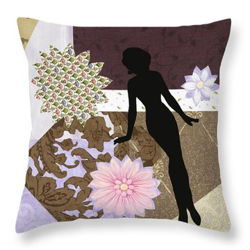 Purple Paper Doll Throw Pillow