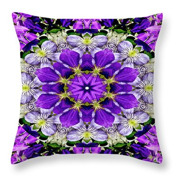 Purple Passion Floral Design Throw Pillow
