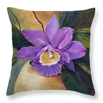 Purple Passion Orchid Throw Pillow