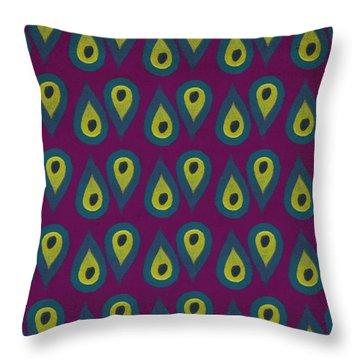 Purple Peackock Print  Throw Pillow